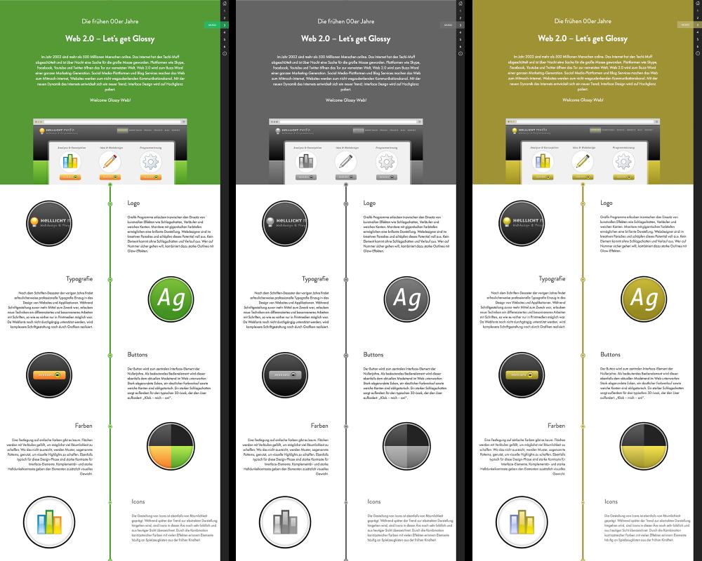 Eine grün-orange Website in Graustufen und aus Sicht eines Farbfehlsichtigen