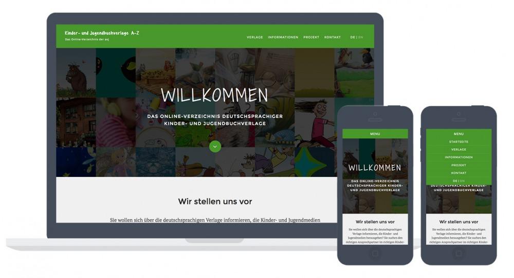 Screenshots einer Website mit einem Dropdown-Menü als Navigation