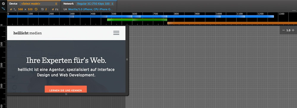 Screenshot des Chrome-Developer Tools von Google zum Testen verschiedener Bedingungen
